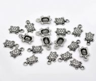 10 x Antique Silver Tortoise / Turtle Charm Pendants